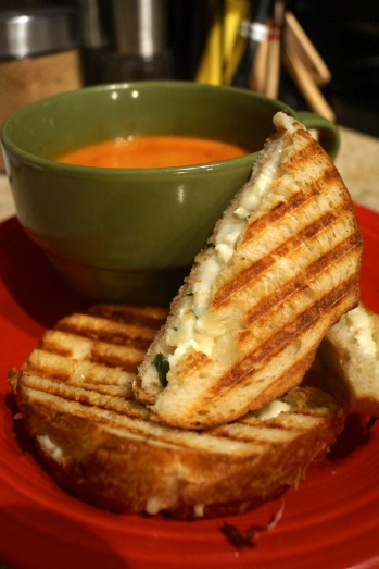 Lemon-Zest Basil Grilled Cheese with Tomato Soup
