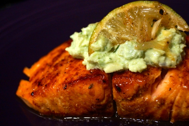 Brown Sugar Rubbed Salmon with Avocado Crema