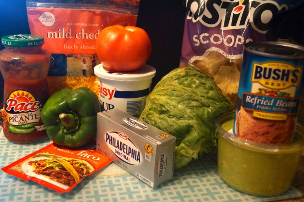 Ingredients for 7-Layer Taco Dip
