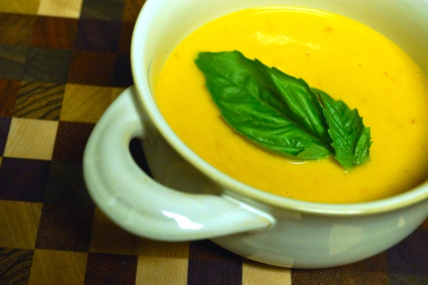 6 - Creamy Thai Carrot and Peanut Soup with Basil